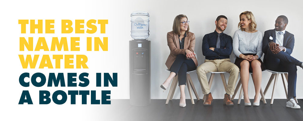 employees sitting next to a Culligan bottled water cooler